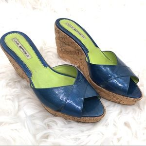 Via Spiga Blue Patent Leather Cork Wedge Mules 9.5